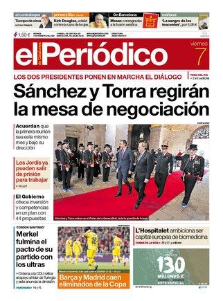 La portada de EL PERIÓDICO del 7 de febrero del 2020.