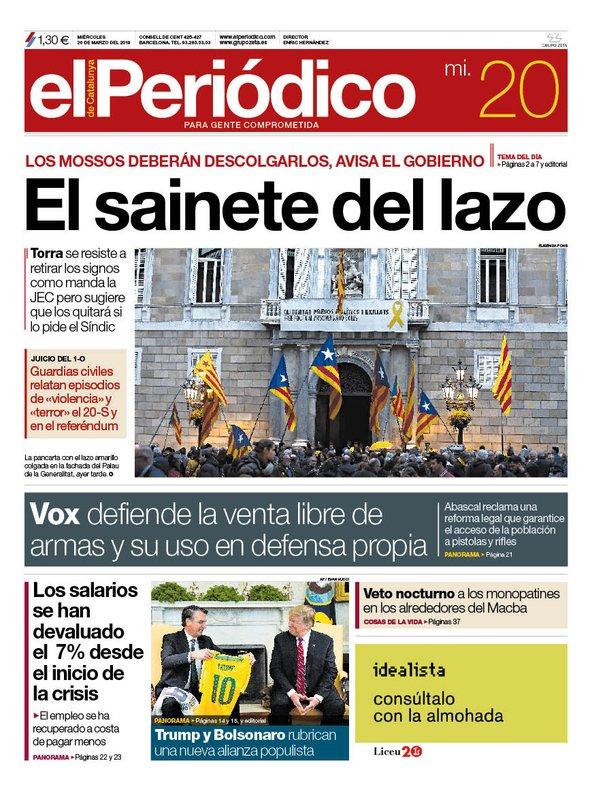 La portada de EL PERIÓDICO del 20 de marzo del 2019