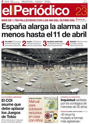 La portada de EL PERIÓDICO del 23 de marzo del 2020.