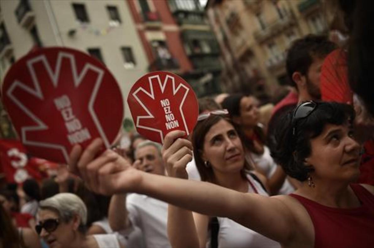 Protesta ciudadana que se realizó en Pamplona tras la agresión sexual de los Sanfermines del 2016.