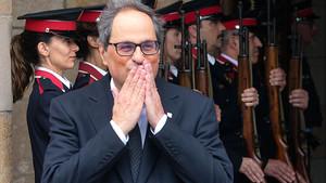 Quim Torra, a la salida del Parlament tras ser investido president de la Generalitat.