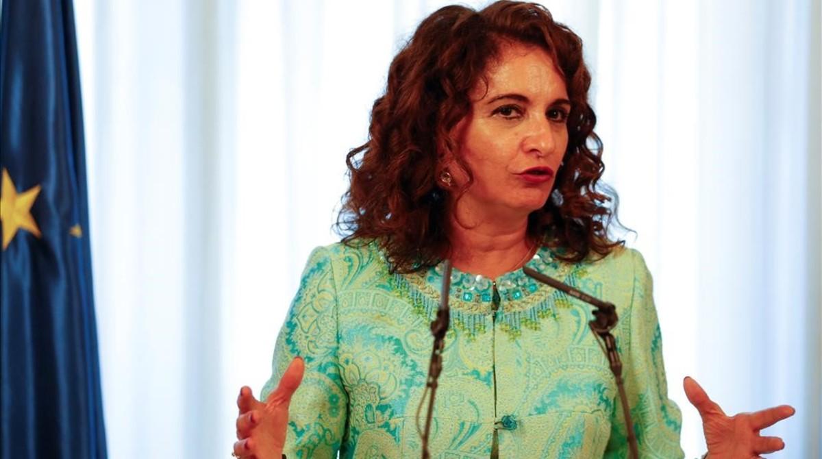 La ministra de Hacienda, María Jesús Montero, en el acto de su toma de posesión del cargo este jueves.