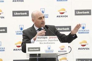 Luis Rubiales, durante el desayuno en el que ha anunciado el nuevo formato de la Supercopa de España.