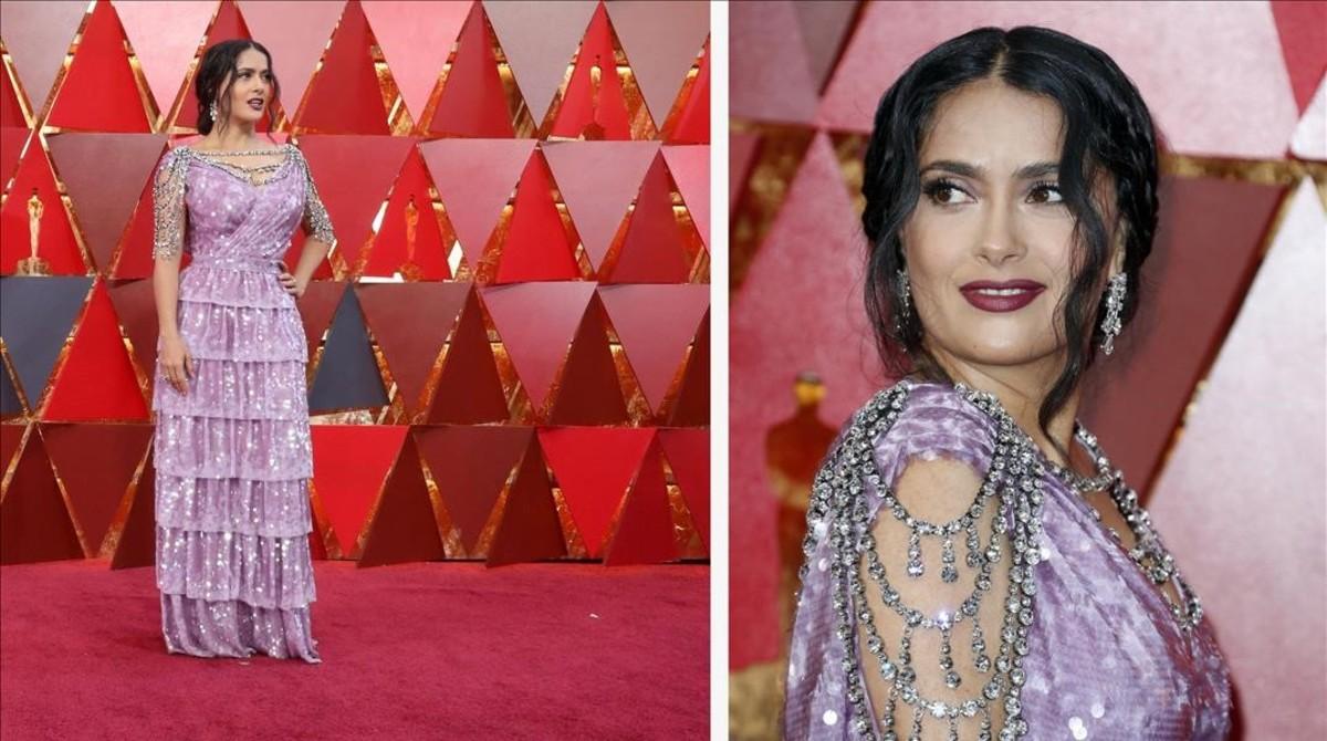 Salma Hayek y su vestido malva, de volantes totalmente cubiertos de lentejuelas