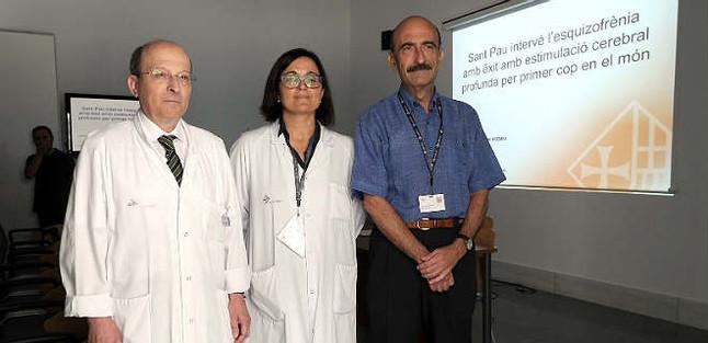 Presentación de los resultados con los doctores Joan Molet, Iluminada Corripio y Enric Alvarez en el Hospital de Sant Pau