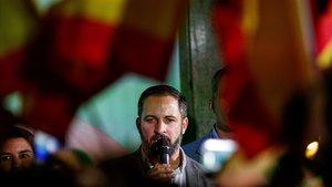 El lider de Vox, Santiago Abascal, valora en la sede del partido los resultados de las elecciones municipalesautonomicas y europeas.