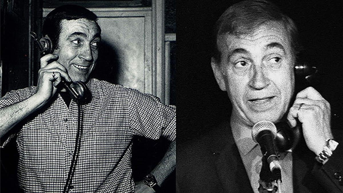 Dos imágenes de Gila, durante sus populares monólogos hablando por teléfono.