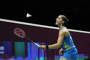 Nanjing (China), 04/08/2018.- Carolina Marin of Spain in action during her women's singles semi-final match against He Bingjiao of China at the 2018 BWF (Badminton World Federation) World Championships in Nanjing, China, 04 August 2018. (España) EFE/EPA/YANGBO CHINA OUT