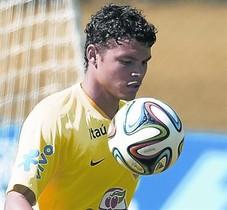 Thiago Silva, en un entrenament amb la selecció del Brasil a Teresópolis.