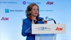 La ministra de Economía, Nadia Calviño, durante su intervencion en la clausura el foro empresarial Spain Investors Day.