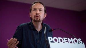 El secretario general de Podemos, Pablo Iglesias, en una rueda de prensa valorando los resultados del 26-M.