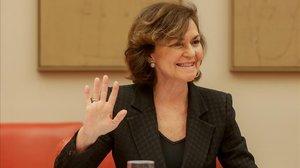 La vicepresidenta primera, Carmen Calvo, durante su intervención en el Congreso de los Diputados.