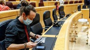 El vicepresidente segundo y líder de Unidas Podemos, Pablo Iglesias, en el Congreso