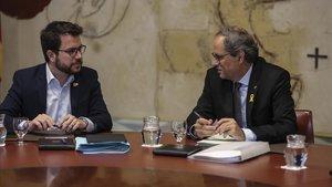 El vicepresidente del Govern, Pere Aragonès, junto al 'president', Quim Torra.