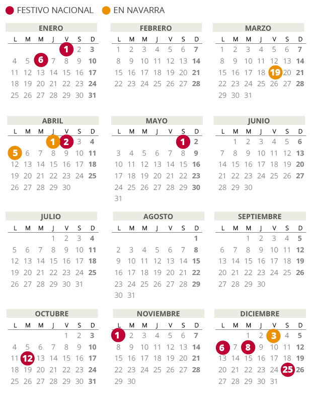 NAVARRA 2021 labor CALENDAR (with all HOLIDAYS)   Archyde