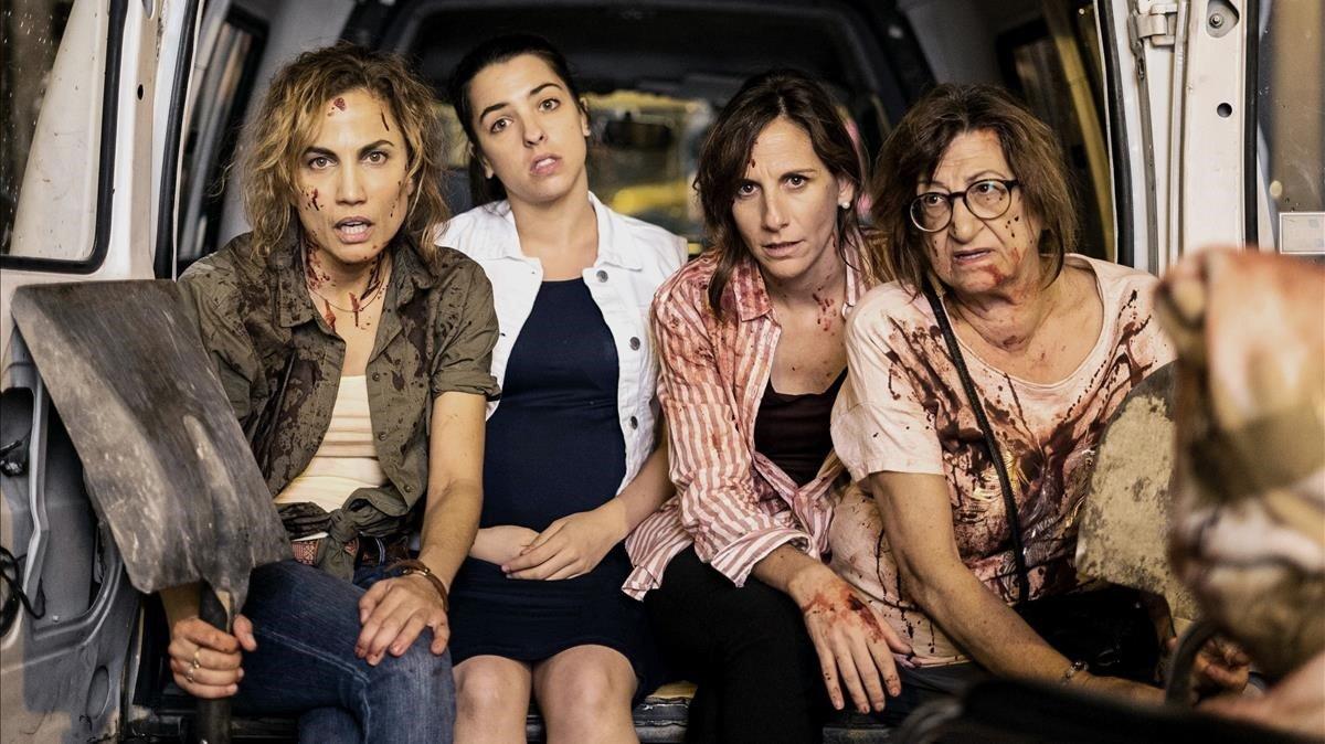 Toni Acosta, Núria Herrero, Malena Alterioy Mamen Garcia, protagonistas de la serie de Tele 5 'Señoras del (H)AMPA'.