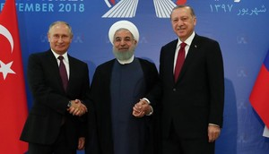 Vladímir Putin, de Rusia; Hasán Rohaní, de Irán, y Recep Tayyip Erdogan, de Turquía, en Teherán, el 7 de septiembre del 2018.