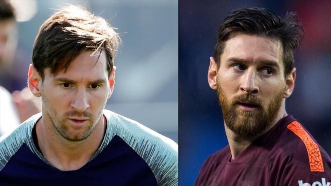 Antes y después deMessi, en dos fotos, tras su afeitado del 21 de septiembre.