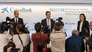 El consejero delegado Gonzalo Gortázar durante la presentacion de resultados de CaixaBank