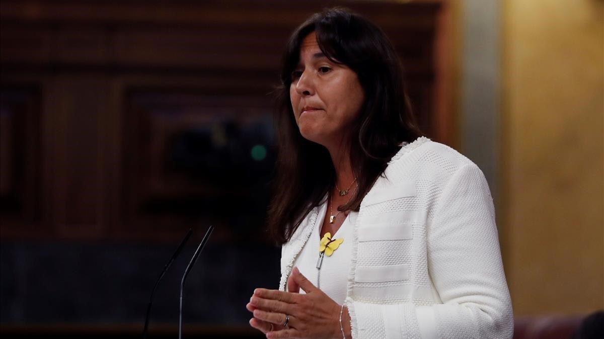 Laura Borràs, diputada de Junts per Catalunya, esta mañana en el Congreso.