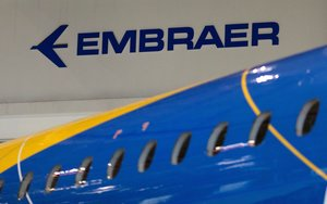 The logo of Brazilian planemaker Embraer SA is seen at the company s headquarters in Sao Jose dos CamposBrazilREUTERS Roosevelt Cassio File Photo