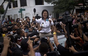 Keiko Fujimori, a la llegada al colegio electoral.