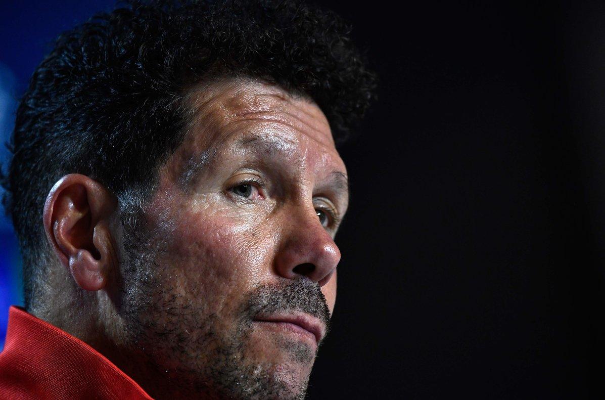 Diego Simeone, entrenador del Atlético, este lunes en rueda de prensa.