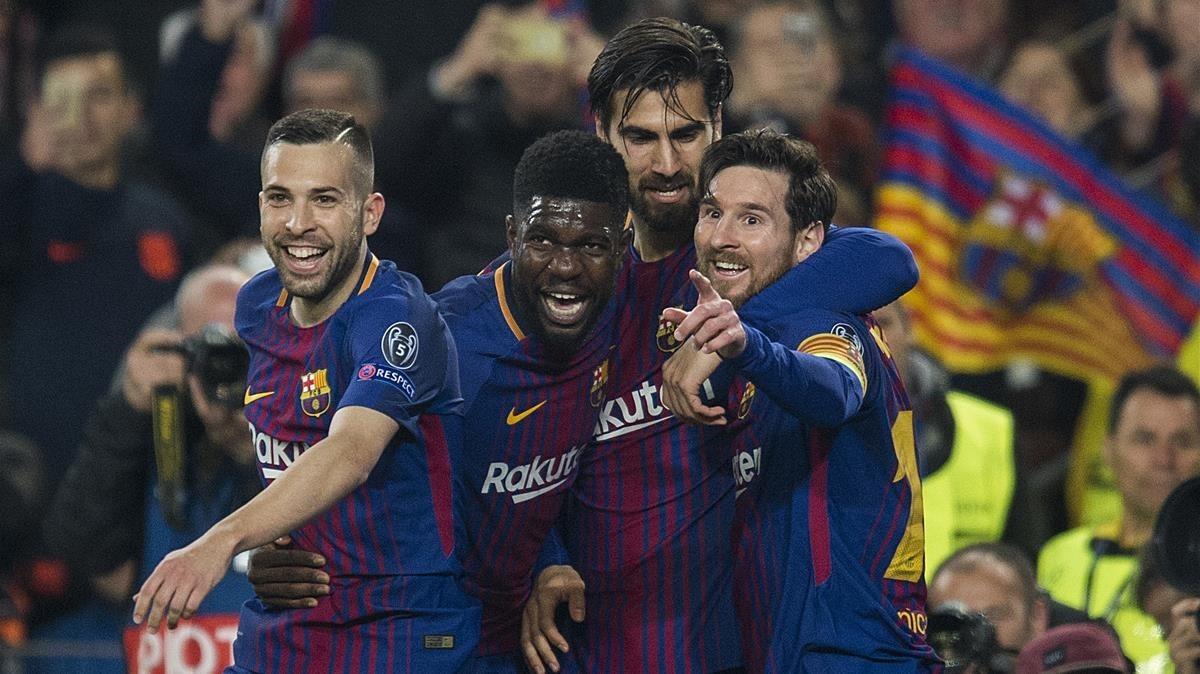 Alba, Umtiti, Gomes y Messi celebran el tercer gol del Barça al Chelsea, obra del argentino.