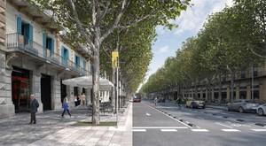 Así quedará la Ronda de Sant Antoni de Barcelona cuando terminen las obras de pacificación que ha previsto el Ayuntamiento.
