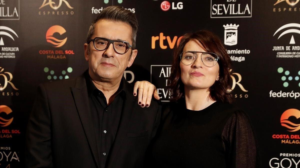 Andreu Buenafuente y Silvia Abril, en la presentación de la gala de los Premios Goya, en Madrid, este lunes.