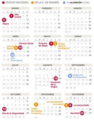 Calendario laboral de Alcorcón del 2020