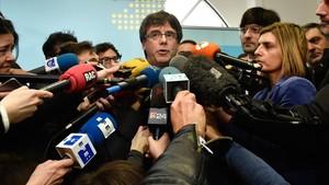 El expresident Carles Puigdemont atiende a los medios, el pasado 24 de enero en Bruselas.