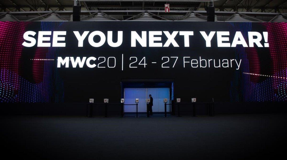 Cartel de despedida de la edición del 2019 del Mobile World Congress.