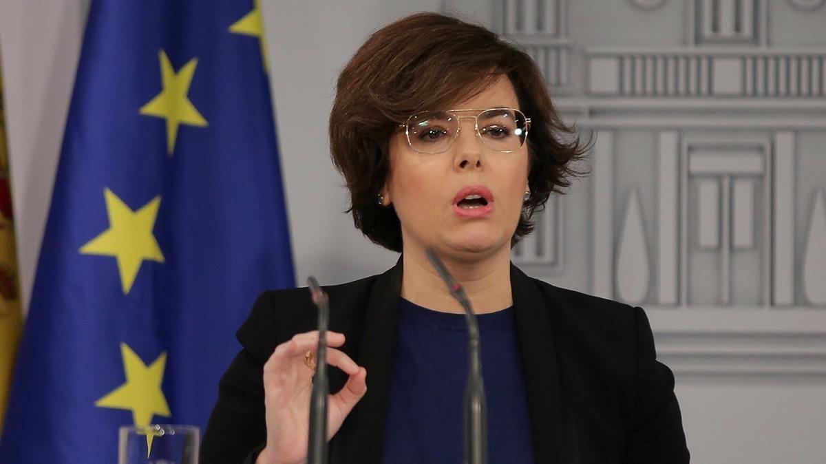 Comparecencia de la vicepresidenta del Gobierno, Soraya Sáenz de Santamaría, el pasado jueves.