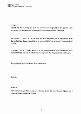 Decreto de nombramientodel nuevo Govern de Quim Torra.