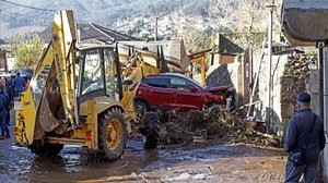 Efectos de la tromba de agua en la localidad de Viveiro, en Lugo.
