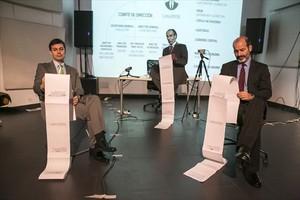 Elies Barberà, Albert Pérez y Josep Julien, en un ensayo de Hazte banquero.