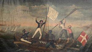 Este óleo anónimo es el único documento gráfico que reproduce las hazañas de Joan Antoni Fàbregues en las costas bálticas, en 1808.