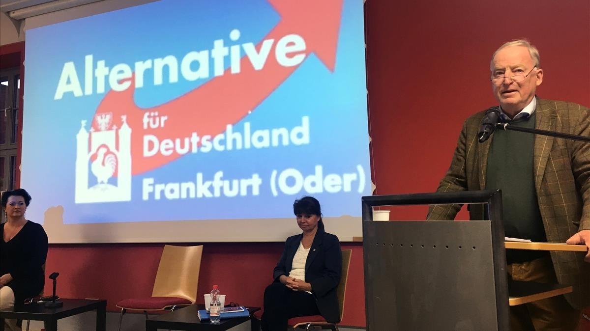 Gauland, candidato de AfD a la cancillería alemana, durante un acto en Fráncfort del Óder, el 11 de septiembre.