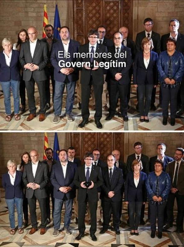 La foto delGovern legítim de Puigdemont antes y después de borrar aSanti Vila.