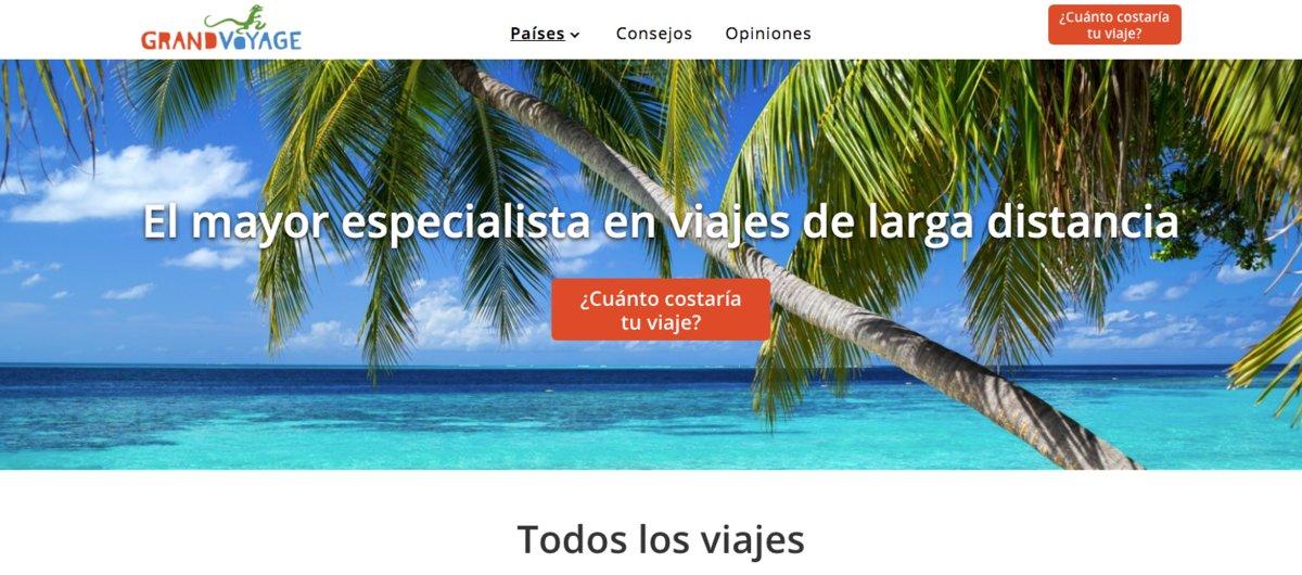 Imagen de la página web GrandVoyage, la agencia de viajeros