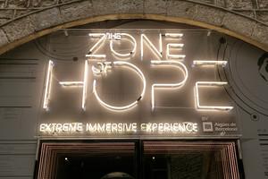 Entrada a la exposición interactiva The zone of hope.