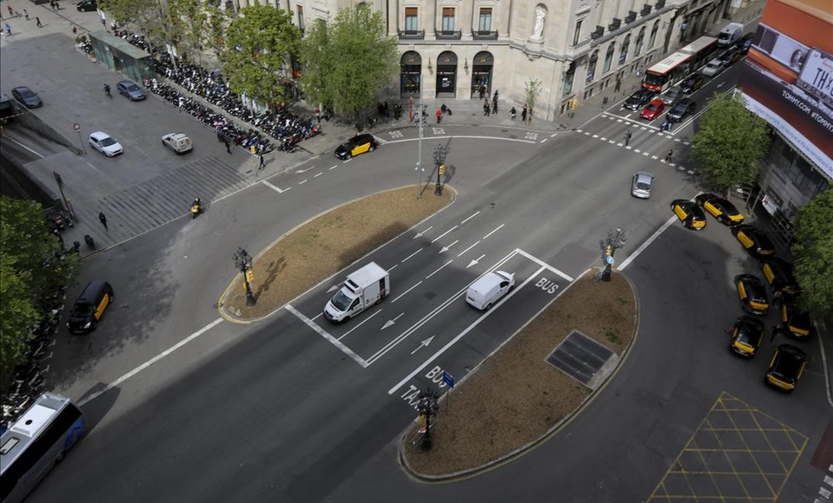 Vista aérea de la plaza Antonio Maura en Via Laietana.