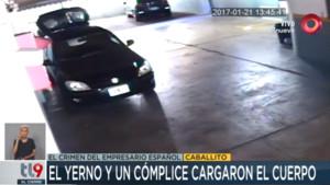 Imágenes captadas por las cámaras de videovigilancia en las que se aprecia como trasladan el cadáver del empresario español.