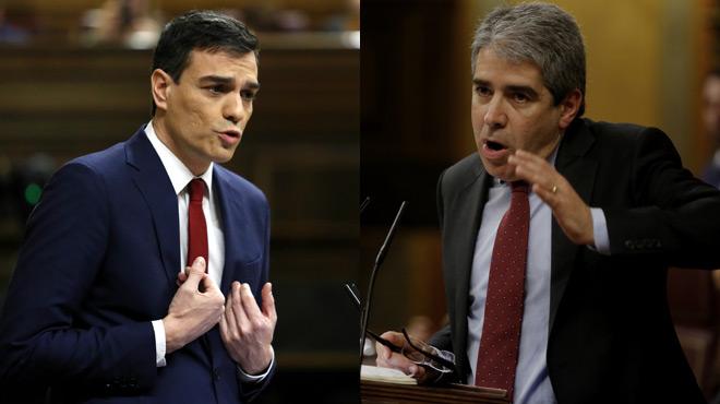 Intervención de Francesc Homs y réplica de Pedro Sánchez en el debate de investidura.