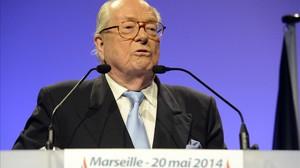 Jean-Marie Le Pen, durante una intervención en un mitin del FN en Marsella.