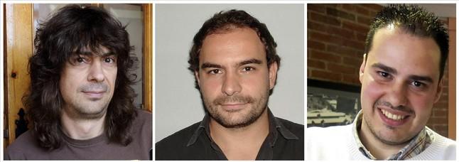 José Manuel López, Ángel Sastre, i Antonio Pampliega, d'esquerra a dreta, tres periodistes segrestats a Síria.
