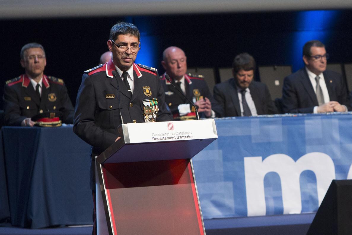 El comisario jefe de los Mossos, Josep Lluís Trapero, durante un discurso en el Dia de les Esquadres.