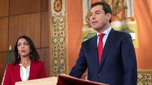Juan Manuel Moreno, durante su jura del cargo como nuevo presidente de Andalucía.