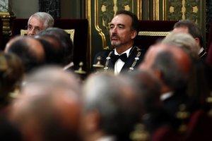 09/09/2019 El magistrado del Tribunal Supremo Manuel Marchena (c), durante el acto de la apertura del año judicial este lunes que preside el rey Felipe VI, en el Salón de Plenos del Tribunal Supremo.